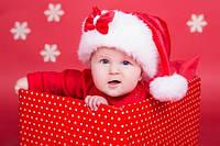 Новогодняя Шапка Детская Деда Мороза Колпак Санта Клауса Santa Claus с бантиком, фото 1