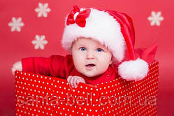 Новорічна Шапка Дитяча Діда Мороза Ковпак Санта Клауса Santa Claus з бантиком