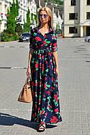 Женское платье-рубашка в пол с поясом, фото 1