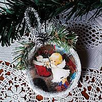 Елочная игрушка Ангелочек  Подвеска медальон на елку Подарки на День Святого Николая Рождество новый год
