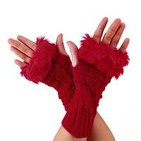 Красные митенки с мехом, перчатки без пальцев