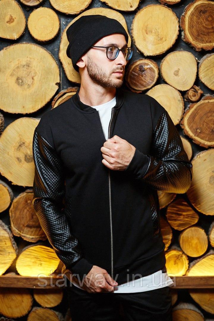 Стильный бомбер | Рукава куртки из эко-кожи