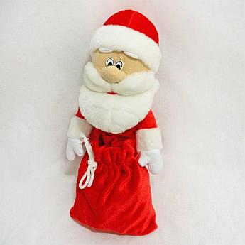 Чехол украшение на бутылку Дед Мороз Красный, синий