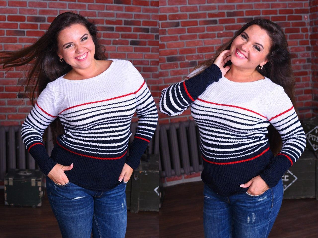 3e45b1b21cf Женская свитер морячка БАТАЛ - купить по лучшей цене в Одессе от ...