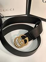 Женский кожаный ремень Gucci с пряжкой-логотипом золото , фото 1