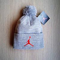 Мужская зимняя шапка NBA нба серая с бубоном