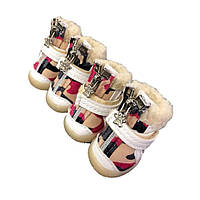 Ботинки для собак с мехом Хаки