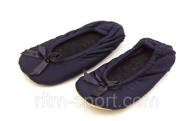 Балетные тапочки атласные детские черные (размер 21 - 25)