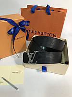 Кожаный ремень LouisVuitton с пряжкой-логотипом серебро (реплика), фото 1