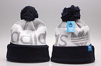 Шапка мужская с бубоном Adidas, черно-серая