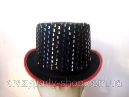 Карнавальная шляпа цилиндр женский, подростковый чёрный с пайетками