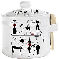 """Банка для меда с деревянной ложкой  """"Черная кошка"""" (h-8 см, d-10см, о-м 500 мл)"""