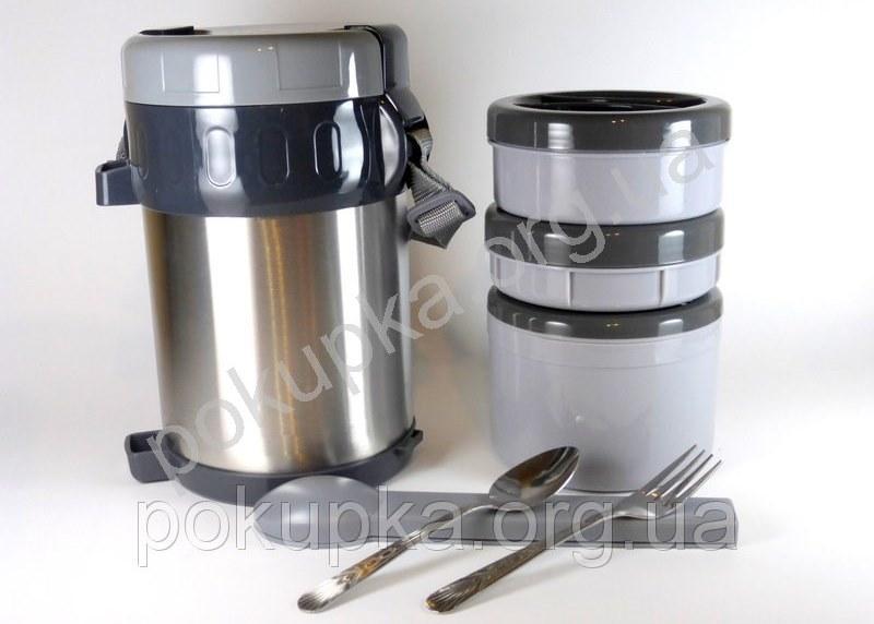 Термос для еды Kamille 2000 мл из нержавеющей стали с ложкой и вилкой, термос пищевой для первых и вторых блюд