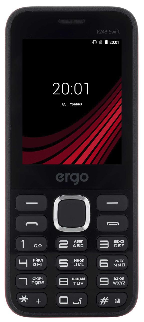 Кнопочный мобильный телефон с мощным аккумулятором на 2 сим карты Ergo F243 Swift черный