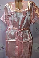 Розовый женский комплект пеньюар с халатом
