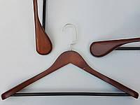 Плечики вешалки тремпеля деревянные коричневого цвета широкие, длина 45,5 см