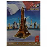 Конструктор 3D из ламинированного пенокартона Великие сооружения Эйфелевая башня 35 деталей разные цвета