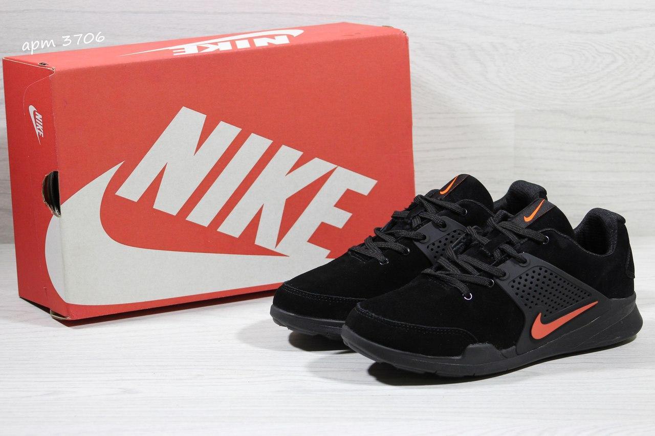 Кроссовки Nike air presto замшевые,черно с оранжевым