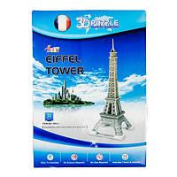 Конструктор 3D из ламинированного пенокартона Великие сооружения Эйфелевая башня 35 деталей разные цвета разные цвета белый