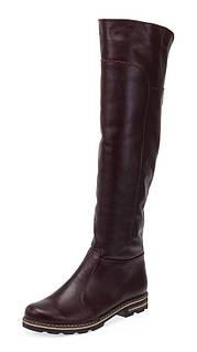 Сапоги ботфорты бордовые зимние женские кожаные с подкладкой из натуральной шерсти с застёжкой молния