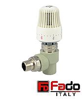 Кран вентильный PPR 20х1/2 радиаторный с термоголовкой полипропиленовый FADO Италия угловой