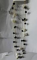 Черно белые многорядные бусы. Украшения на шею - бусы из жемчуга 629
