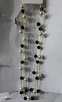 Черно белые длинные бусы. Украшения на шею - бусы из жемчуга 630