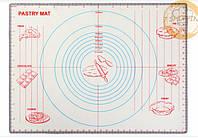 Силиконовый коврик для раскатки теста 613*457мм, коврик для запекания,  коврик для теста с разметкой
