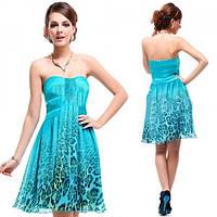 Леопардовое платье с розой на талии голубое
