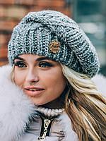 Женский теплый зимний берет серого цвета