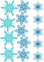 """Вафельная картинка для для пряников, пирожных топперов """"Снежинки"""", (лист А4)"""