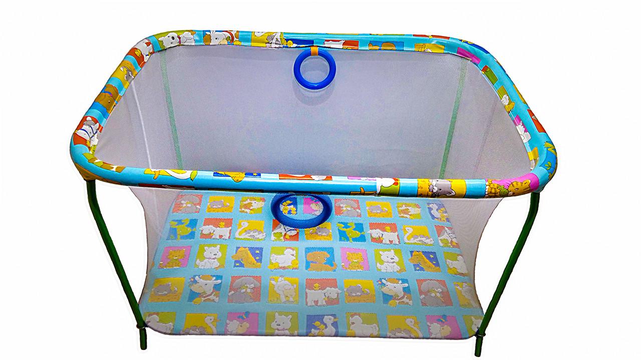 Манеж детский игровой KinderBox полу люкс Веселая ферма с мелкой сеткой (kmp2)