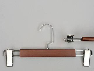Довжина 32 см. Плічка вішалки тремпеля дерев'яні коричневого кольору для штанів і спідниць