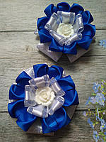 Бант Синий с розой на подарок дочке, фото 1