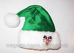 """Новорічна Шапка Доросла Діда Мороза Ковпак Санта Клауса Santa Claus зелена """"Олень дівчинка"""""""
