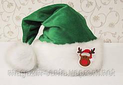 "Новорічна Шапка Доросла Діда Мороза Ковпак Санта Клауса Santa Claus зелена ""Олень"""