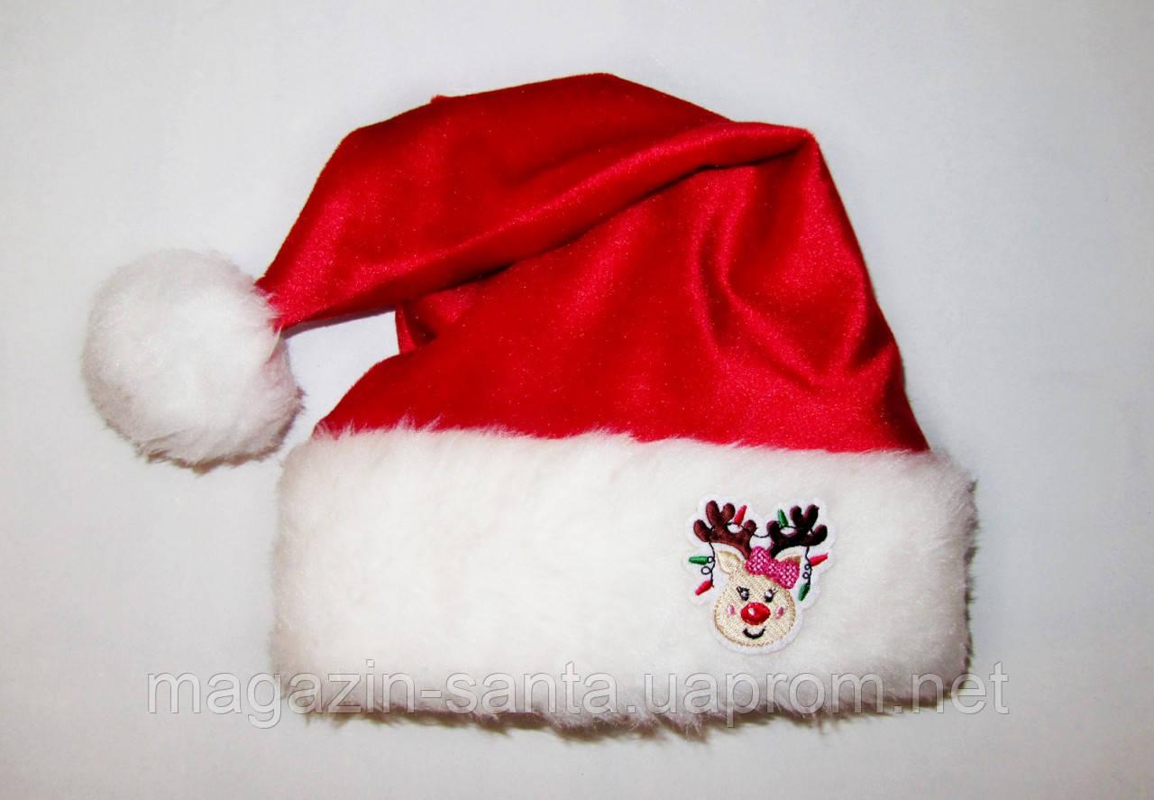 """Новорічна шапка доросла Діда Мороза Ковпак Санта Клауса Santa Claus червона """"Олень дівчинка"""""""