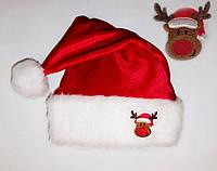 """Новогодняя шапка взрослая Деда Мороза Колпак Санта Клауса Santa Claus  красная """"Олень"""", фото 1"""