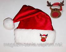 "Новорічна шапка доросла Діда Мороза Ковпак Санта Клауса Santa Claus червона ""Олень"""