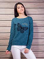 Кофта женская с аппликацией бабочка и замочком на спинке p.42-48 VM2122-3