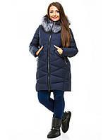 Женская зимняя куртка на молнии большого размера с мехом на капюшоне