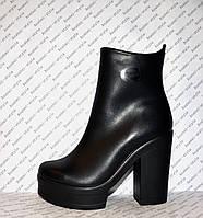 Ботильоны из натуральной кожи на толстом устойчивом каблуке весна-осень черного цвета код 1094
