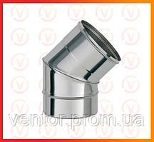 Колено 45° из нержавеющей стали, диаметр 100-150 мм