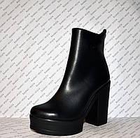 Ботильоны кожаные на толстом устойчивом каблуке весна-осень черного цвета код 1095