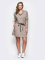 Молодежное стильное бежевое платье на резинке р.44,46,48,50