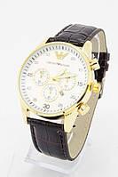 Мужские наручные часы Emporio Armani (серебристый циферблат, коричневый ремешок) (Копия)