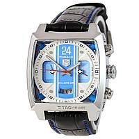 Мужские механические часы TАG Heuer - Monaco 24 (копия) цвет корпуса серебристый, черный ремешок