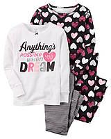 Комплект пижам из 4-х вещей с сердечками Carters для девочки на 2 года