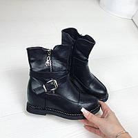 Только 36 и 37 размер маломерят! Модные черные женские ботинки на танкетке экокожа на флисе