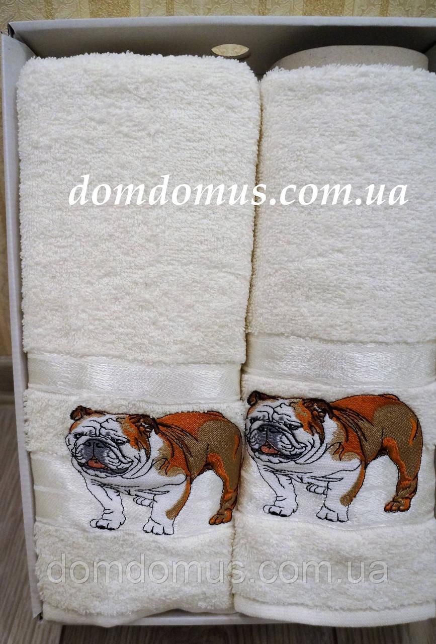 """Подарочный набор полотенец ( баня+лицо) """"Собака"""" Новый Год TWO DOLPHINS, 0150"""